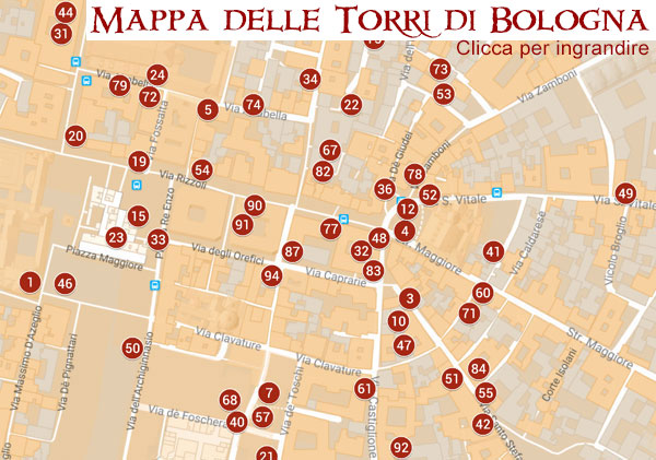 Mappa delle torri medievali di Bologna @torridibologna