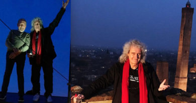 Brian May, Queen, in visita a Bologna su torre Prendiparte