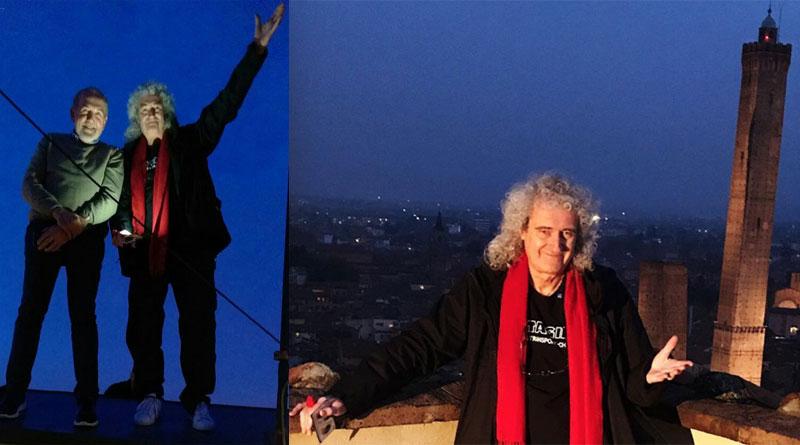 Brian May, Queen, in visita a Bologna su torre Prendiparte